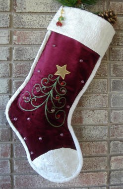 Velvet Wine Contemporary Tree Christmas Stocking