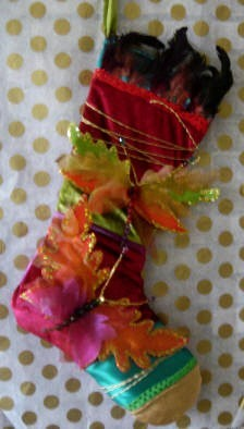 Peacock Feathers and Colorful Butterflies Christmas Stocking