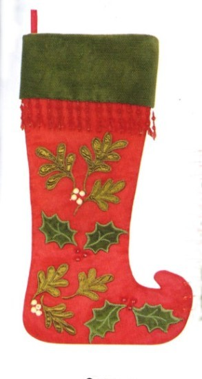 Red Quilted Mistletoe Curl Toe Personalized Christmas Stocking