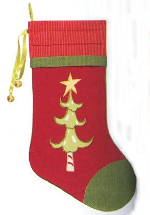 Red Quilted Whimsical Christmas Stocking with Green Christmas Tree