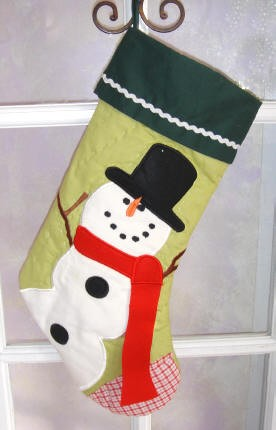 Snowman Quilted Personalized Christmas Stocking