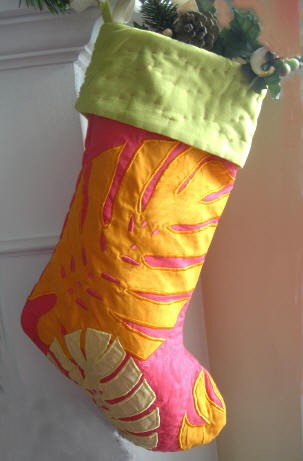 Pink Palm Leaves Holiday Christmas Stocking