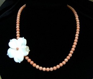 Beaded Coral with Accenting White Coral Flower Necklace