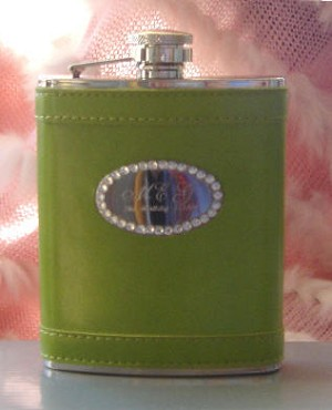 Personalized Lime Green Flask with Crystals