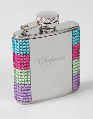 Crystal Rainbow Dazzle Flask (Engraved)