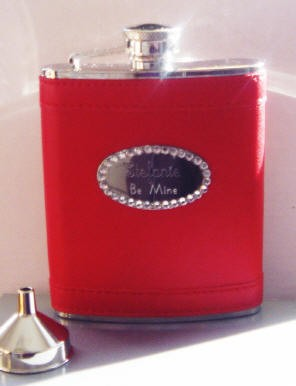 Personalized Red Valentine's Flask with Crystals