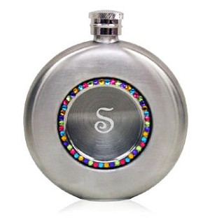 Engraved Round Silver Flask with Rainbow Crystals