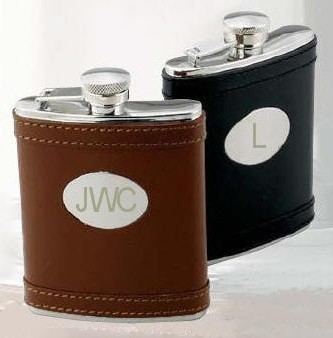 Leather Flasks Black or Brown Engraved with Initials