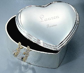 Personalized Silver Heart  LIft Top Jewelry Box