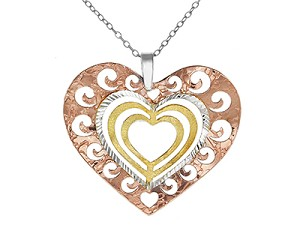 Three Tone Cut Out Swirl Heart Pendant