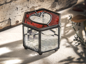 Stained Glass Hexagon Shape topped with a HEART Jewelry Box
