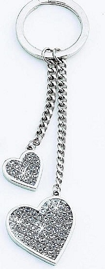 Personalized Glitter Galore Double Heart Key Chain