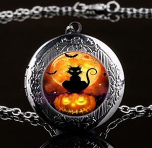 Personalized Black Cat with Jackolantern Locket