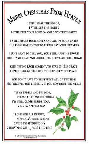 Christmas In Heaven.Merry Christmas From Heaven Poem Card