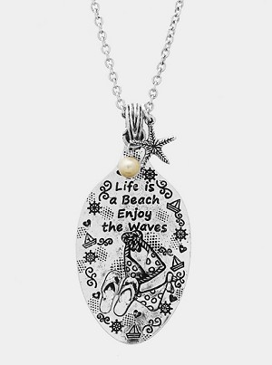Life is a Beach Burnish Silver Necklace