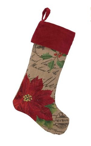 French Stamped Burlap Poinsettia Christmas Stocking