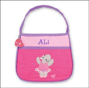 Personalized Quilted Toddler Hippo Ballerina Purse