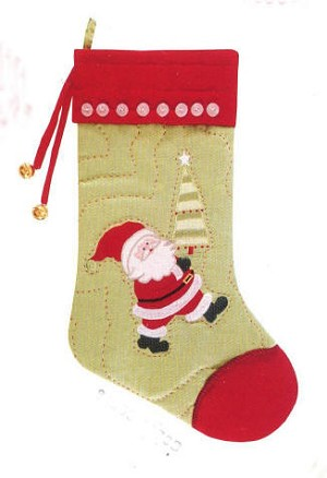 Personalized Red Santa Quilted Christmas Stocking