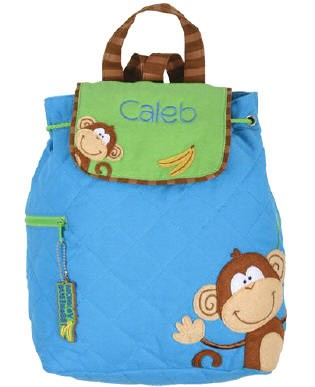 Personalized Quilted Boy Monkey Backpack