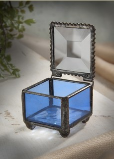 Blue Stained Glass Mini Ring Box