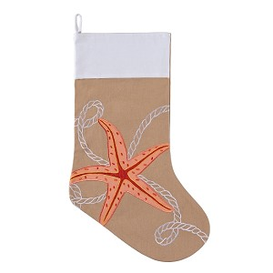 Embroidered Starfish Christmas Stocking