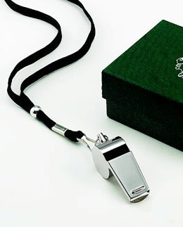 Personalized Silver Tone Coach Whistle