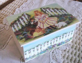 Girl with Bunnies Painted Wooden Box