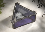 Stained Glass Box with Leaded Butterfly and Purple Colored Glass