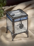 Blue Stained Glass Charm Box with Vintage Legs 405