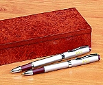 Personalized Pen Set with Burlwood Case