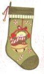 Snowman Christmas Stocking Green with Candy Canes