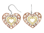 Three Tone Cut Out Swirl Heart Earrings