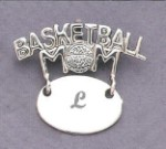 Basketball Mom Monogram Engraved Gift Sterling Silver Pendent Jewelry