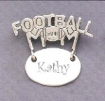 Football Mom Monogram Engraved Gift Sterling Silver Pendent Jewelry