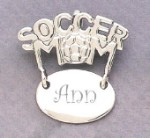 Soccer Mom Monogram Engraved Gift Sterling Silver Pendent Jewelry
