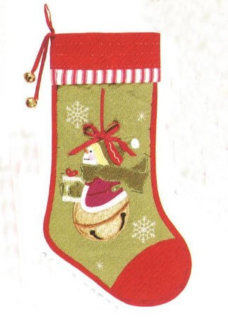 Quilted Snowman Christmas Stocking Green and Red