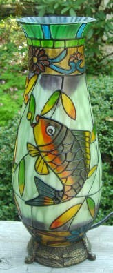 Lake Side Fish Decor Glass Vase Lamp