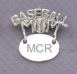 Baseball Mom Monogram Engraved Gift Sterling Silver Pendent Jewelry