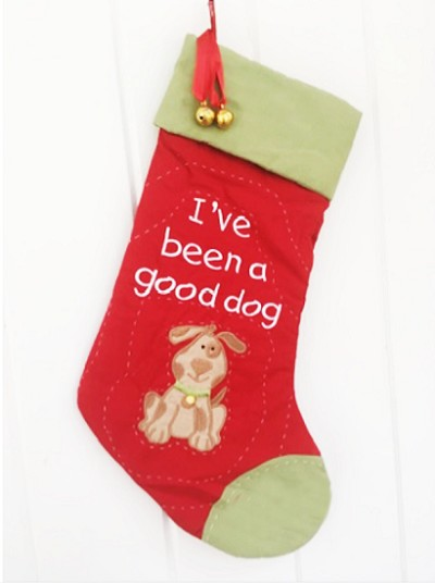 Quilted I've Been A Good Dog Christmas Stocking