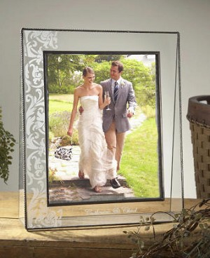 Large Wedding Stained Gl Scroll Etched Picture Frame